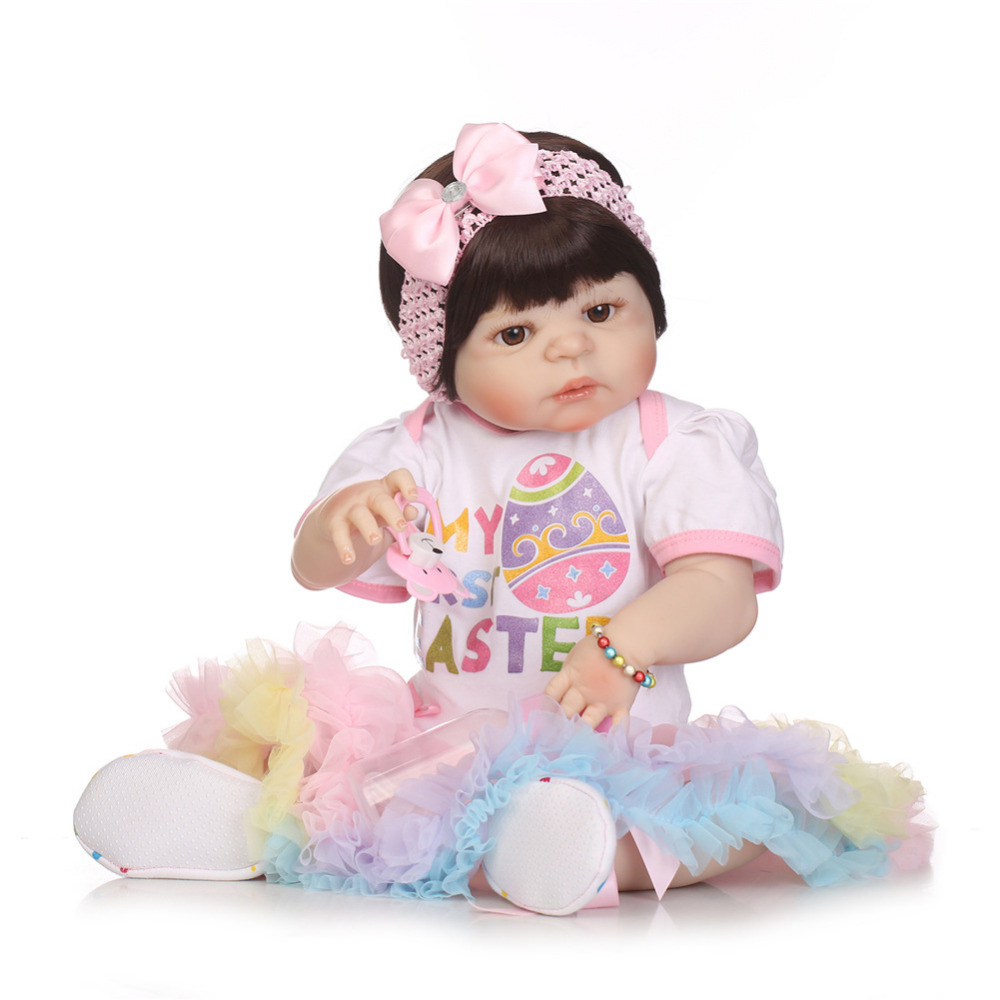 55cm Full Silicone Reborn Baby Girl Doll Lifelike Simulated Toy Newborn Princess Kids Doll Lovely Birthday Gift Gift For Kids newest silicone reborn doll 50cm 20 handsome baby reborn dolls lifelike baby newborn christmas birthday gift juguetes for kids