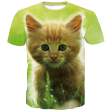 Cat tshirt spit out a waterfall to the earths vibrant 3D cat T-shirt galactic nebula space for female men  plus-size4XL