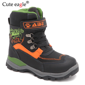 Cute eagle New Waterproof Winter Snow Boots Boys Pu Leather Mid-Calf Child's Shoes Plush Rubber Winter Boots for Boys EU 27-32 cdaxilan new arrival snow boots women down thickened plush boots warmth legs mid calf boots mid heel wedges shoes ladies winter
