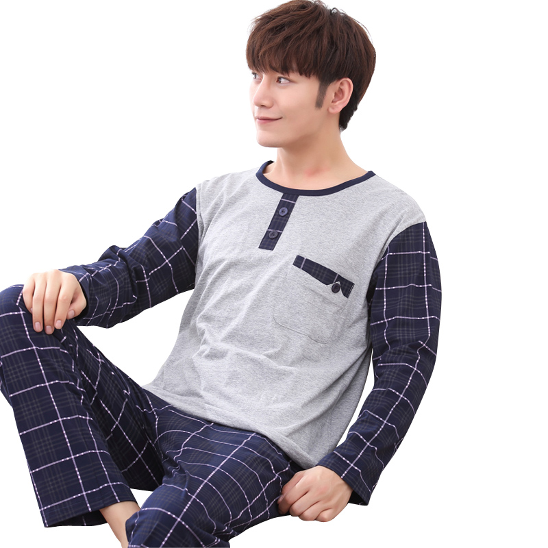 Pijama-Set Underwear Tshirt Long-Sleeved Winter Cotton Clothing Male Men O-Neck for Plus-Size