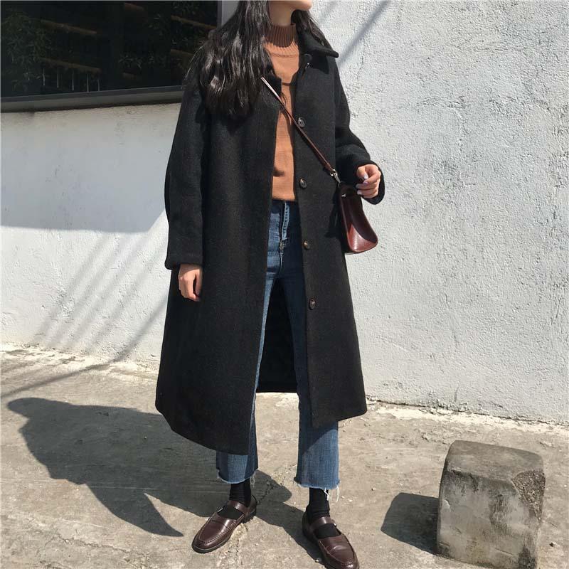Autumn Winter Wool Blend Coat Women Long Sleeve Single-breasted Jacket Casual Woolen Outwear Black Overcoat Abrigo Mujer