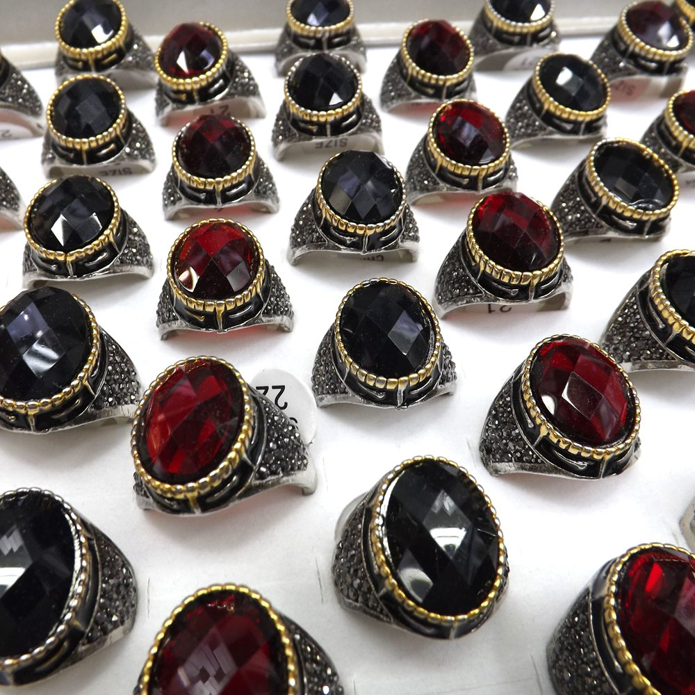 Antique Two-tone Setting Faceted Glass Rings With Black Crystal Retro Design For Men 50pcs/lot