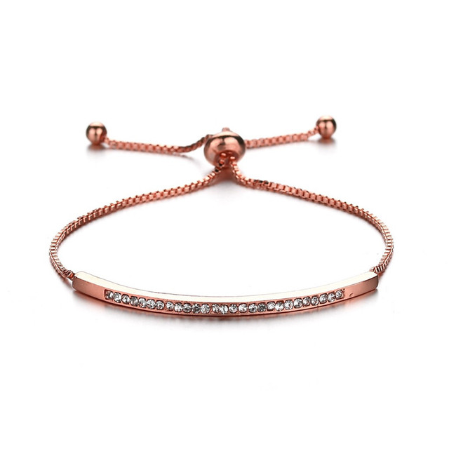 3 Colors Rose Gold Color Chain Link Bracelet Bangle for Women Ladies Shining Crystal Wedding Jewelry Valentine's Day Gifts