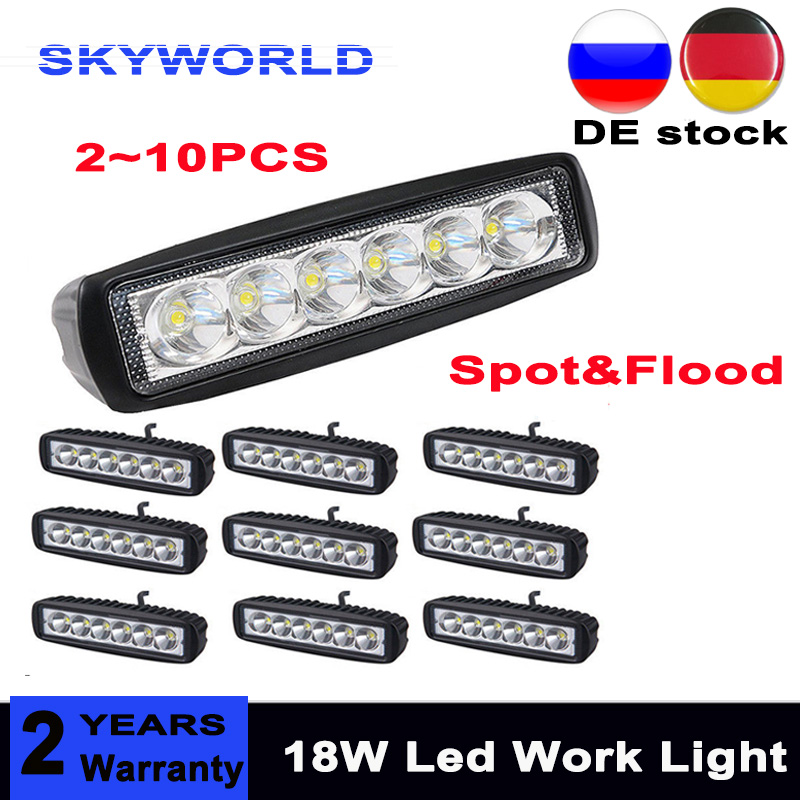 4pc 4inch 18W LED Work Light Bar 4WD Offroad Spot Fog For ATV SUV Driving Lamp