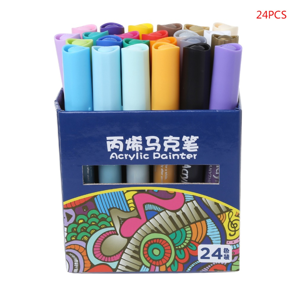 цена на 24Colors Acrylic Watercolor Drawing Painting Waterproof Permanent Marker Pen Set