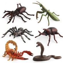 6 tipos de simulação cobra/mantis/aranha figura collectible brinquedos sólidos inseto animais figuras de ação crianças brinquedos cognitivos