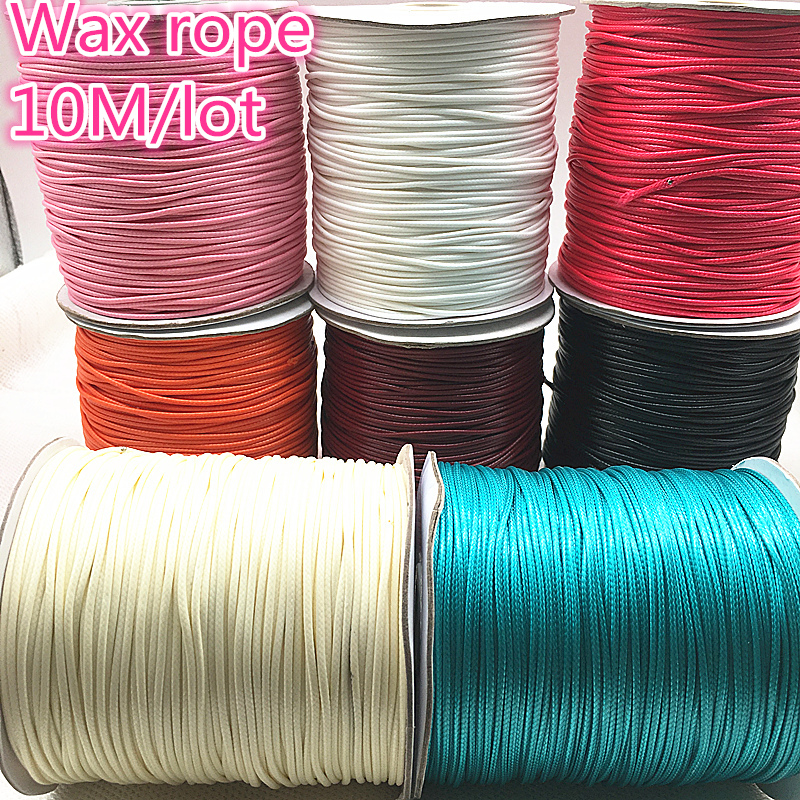 NEW 10 Meters 1mm 1.5mm Waxed Cotton Cord Waxed Thread Cord String Strap Necklace Rope Bead DIY Jewelry Making For Bracelet