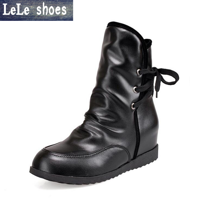 LELE New Fashion Women Short Boots Big Size 34-43 Lace Up Leather Platform Ankle Boots with Fur Warm Bottes Femmes Ladies Shoes ...