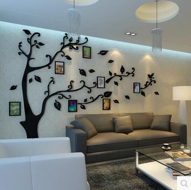 fashion home removable and waterproof acrylic 3d photo frame tree wall sticker paper for living room