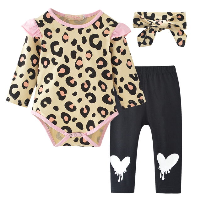 cd4a6263a26 Baby Girl Clothing 3PCS Newborn Kids Baby Girl Leopard Ruffles Long Sleeve  Romper Clothes+Love Heart Pants +Headband Outfit Set-in Clothing Sets from  Mother ...