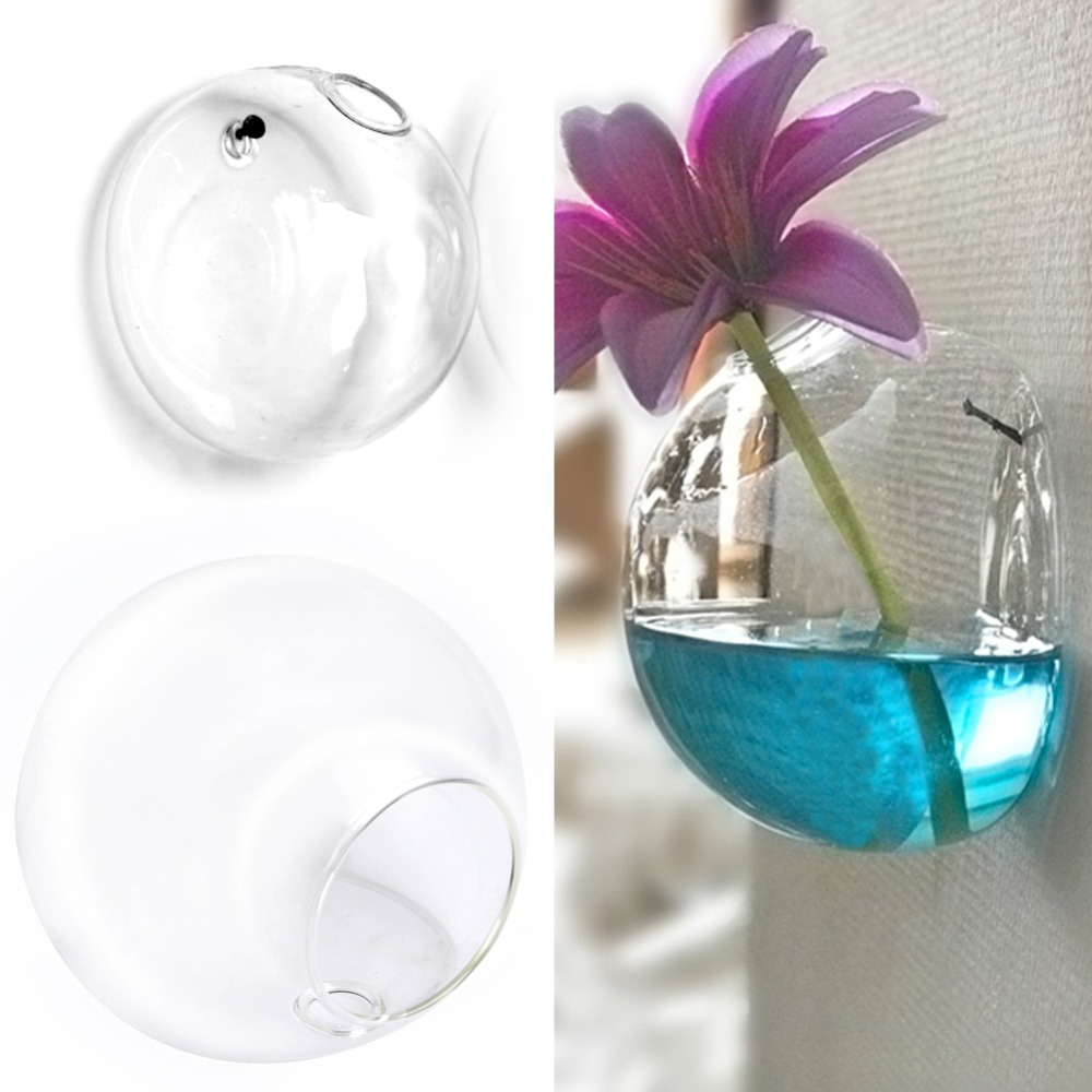 1PC 7*8CM High Borosilicate Glass White Transparent Glass Wall Hanging Flower Pot Glass Ball Vase Container Home Garden Decor