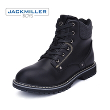 2018 new Boys kids ankle boots for big child zip Children shoes PU leather Spring/Autumn black size 36-39 Jackmillerboys