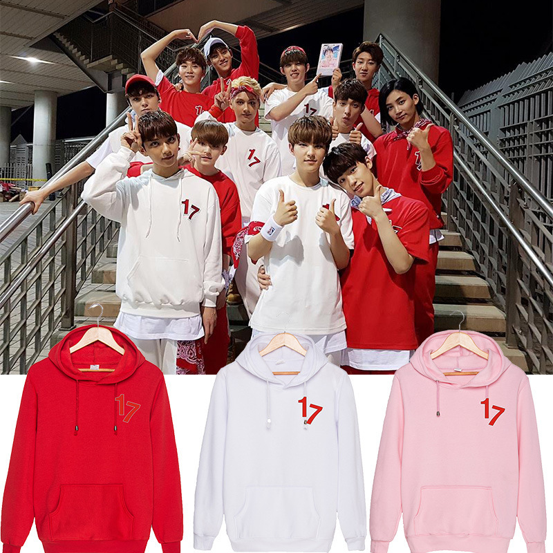 Kpop home Seventeen 17 same 17 logo Sweatershirt Long sleeve Harajuku style Student hoody Man and Womens hoodies with hat