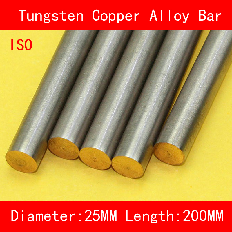Diameter 25mm Length 200mm Tungsten Copper Alloy Bar W80Cu20 W80 Tungsten Bar Spot ISO Certificate 4 100 100 tungsten copper alloy sheet w80cu20 w80 plate spot welding electrode packaging material iso certificate free shipping