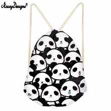 NOISYDESIGNS Cartoon Funny Bear Printed Drawstring Bag Liittle Girl Shoulder Bag Boy Mini Backpack Female Panda
