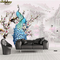 beibehang Custom wallpaper large mural wall stickers water production three-dimensional relief blue peacock magnolia background