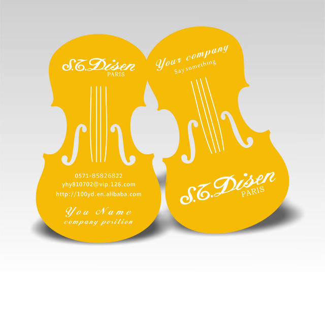 Free shippng nice violin design custom business cards cmyk printing free shippng nice violin design custom business cards cmyk printing die cut to special shape yellow reheart Gallery