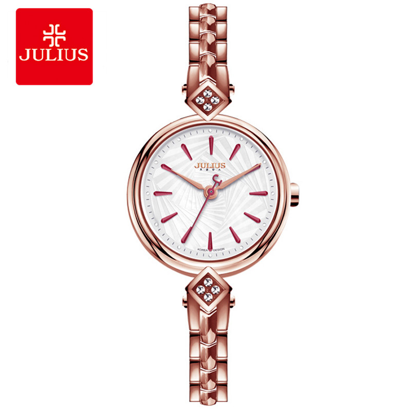 Top Brand Julius Metal Watch Bracelets Relojes De Mujer De La Marca De Lujo 2018 Women Clock Shell Dial Women Dress Hour JA-881 classic style natural bamboo wood watches analog ladies womens quartz watch simple genuine leather relojes mujer marca de lujo