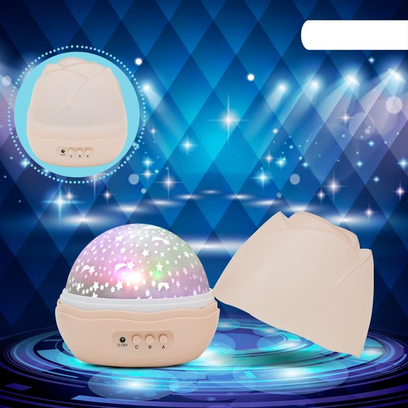 Leedome Novelty Night Light Children Baby Sleep Romantic Light Projector Lamp Rotating Flashing Starry Star Moon Sky Lampada Led
