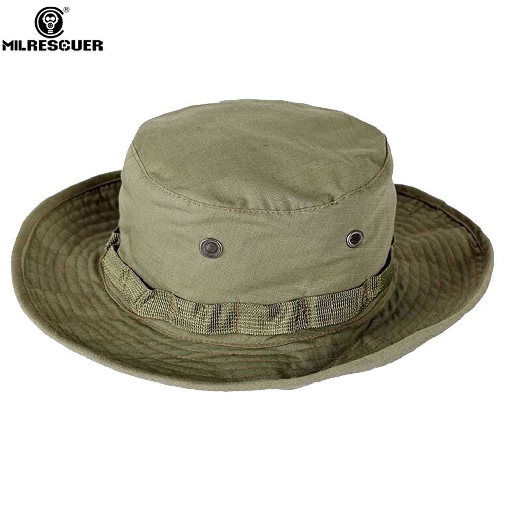 MILRESCUER Military Army BONNIE HATS Round-brimmed Sun Boonie Cap Hunting Military Cap Men Tactical Hats CS War Game Fedoras