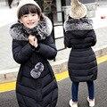 Детские зимние куртки для девочек Вниз верхняя одежда женский большой девушка детская одежда 2016 новый толстый слой с капюшоном меховой воротник куртка