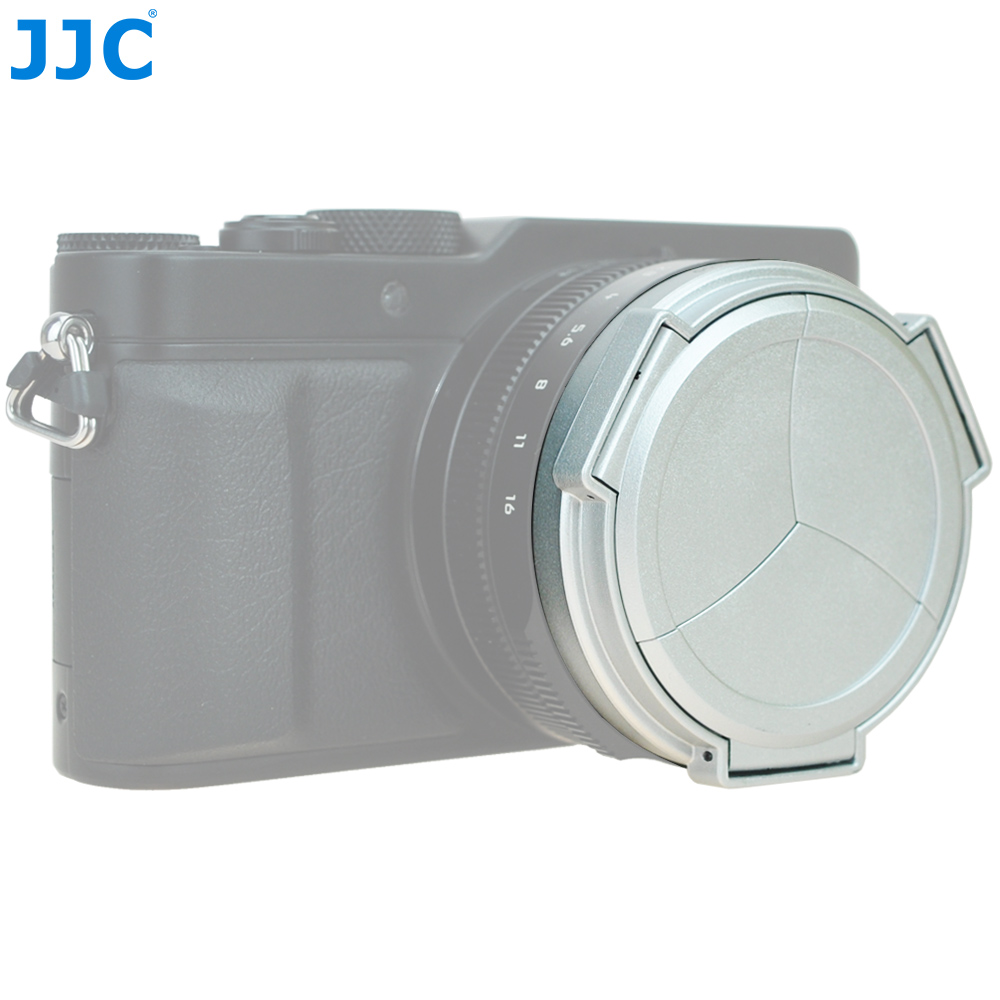 JJC Black Silver Auto Lens Cap for Panasonic LUMIX DMC-LX100 and LEICA D-LUX(Typ 109) Camera