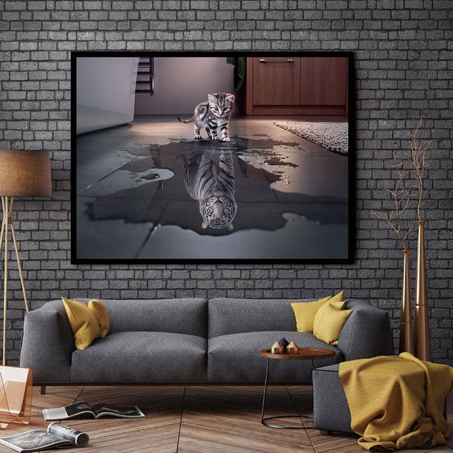 cat bedroom. Canvas Painting Cat Tiger Abstract Wall Art for Home Decor Living  Room Bedroom Classroom Hotel