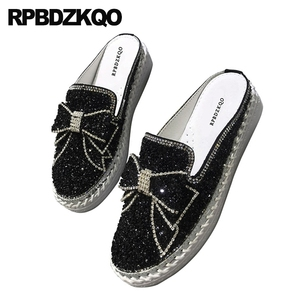 Image 2 - Diamond Mules Crystal Japanese Slippers Muffin Black Silver Platform Bling Women Flats Shoes With Little Cute Bowtie Creepers