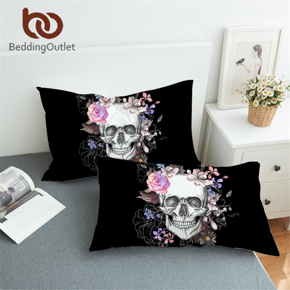 BeddingOutlet Sugar Skull and Floral Pillowcase Flowers Printed Pillow Case Bohemian Bedding Pink And Black Pillow Cover 2pcs