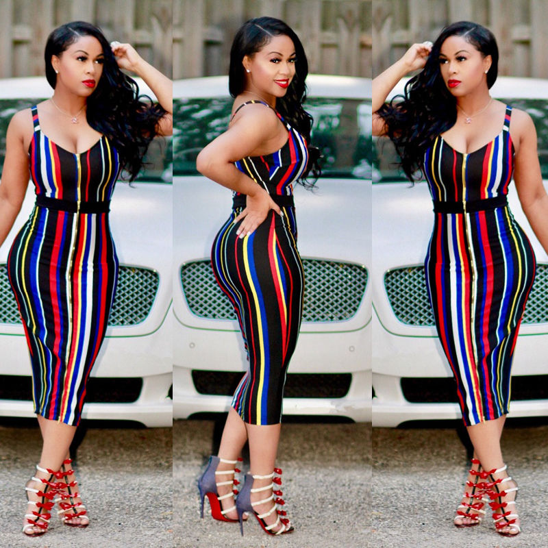 Cuerly Sexy Women Summer Bandage Striped Dress 2019 Strap V neck Rainbow Bodycon Evening Party Club Dresses in Dresses from Women 39 s Clothing