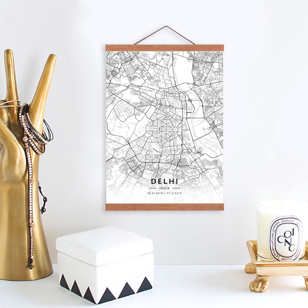 Us 12 02 32 Off Delhi India City Map Wooden Framed Canvas Painting Home Decor Wall Art Print Pictures Poster Hanger In Painting Calligraphy From