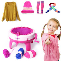 Large Size Children Hand cranking Weaving Loom Knitting Machine DIY Educational Toys for Girl Arts Crafts
