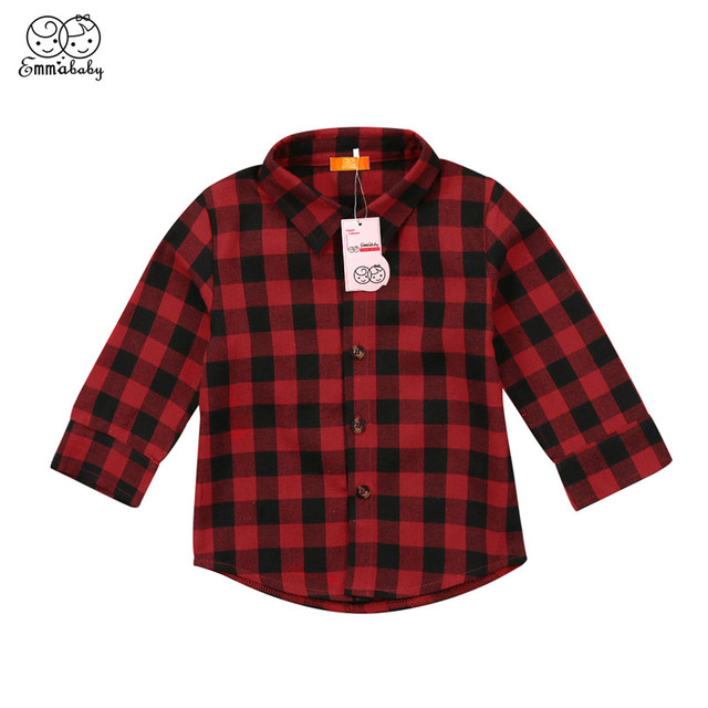 d50d0086 Casual Check Long Sleeve Shirts For Girls Boys Toddler Kids Baby Boy Girl  Letter Printed Blouse 2018 New Bebes Plaid Tops Shirts
