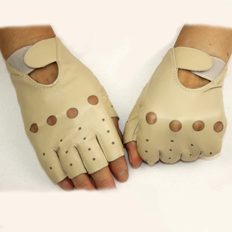 Leather Fingerless Gloves Women's Short Style Hollow Spring And Summer Riding Sports Car Thin Semi-finger Sheepskin Gloves