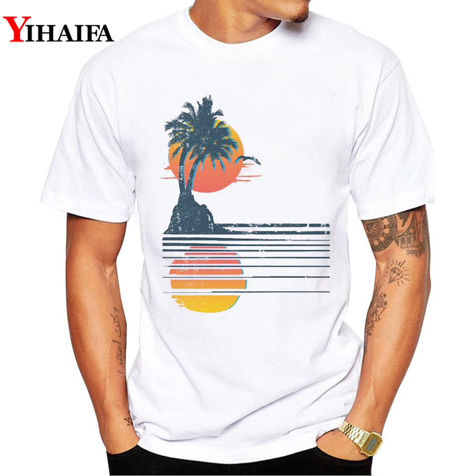 Hipster Men T Shirt Wave Sunrise Graphic Tee Funny landscape 3D Print T Shirts Casual Short Sleeve White Tops in T Shirts from Men 39 s Clothing