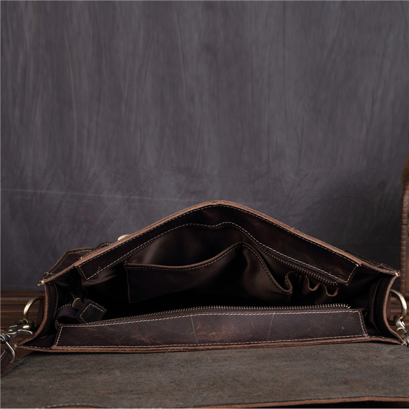 Affranchissement Sac Horse Première Mode 1058 Magazine Rétro Hommes De Cuir Brown Couche D'épaule D'ordinateur Dark Simple En Crazy RHCqAx