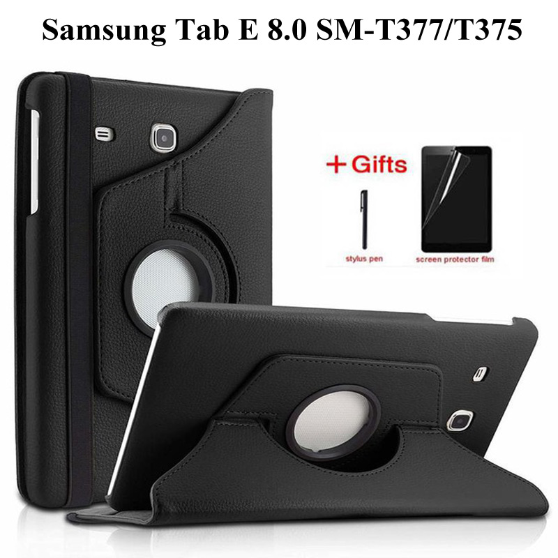 360 Degree Rotating PU Leather Case For Samsung Galaxy Tab E 8.0 SM-T377 Cover For Tab E 8.0 Inch T375 T378 Tablet Case+Film+Pen