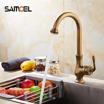 Kitchen Faucets Mixer Taps Antique Brass Finished Hot and Cold Deck Mounted with Flower Design  AF1042N