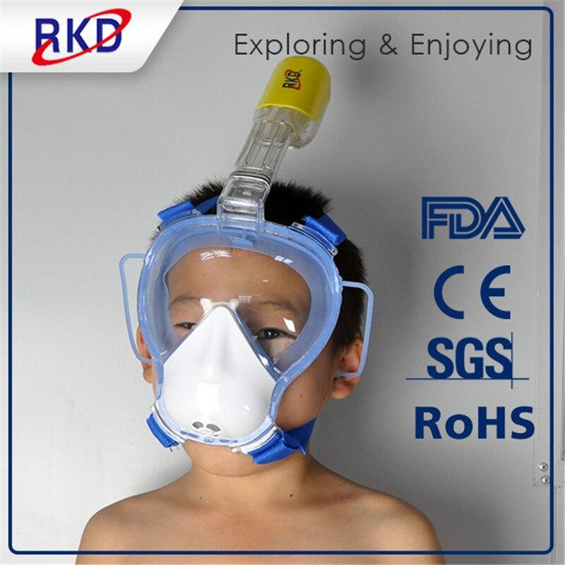 2017 Enfants RKD Masque de Plongée Masque de Plongée Sous-Marine Anti Brouillard Plein Visage Plongée En Apnée Masque De Natation Tuba Équipement de Plongée - 5