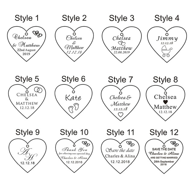 100pcs 40mm Personalized Laser Engraved Wedding Gifts Bridal Shower Baby Baptism Love Heart Tags Party Present Decoration Favors 1