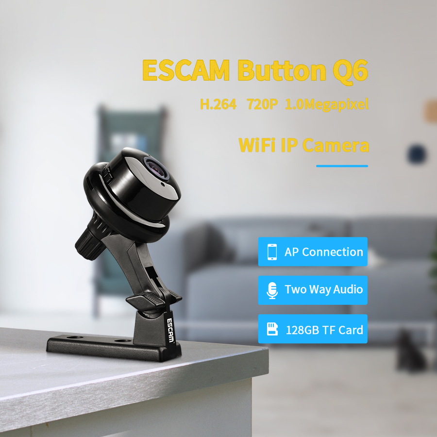Escam Button Q6 1MP HD 720P Mini WIFI IP Camera Indoor Infrared Day/Night Vision Onvif Support Motion Detection Max 128GB CardEscam Button Q6 1MP HD 720P Mini WIFI IP Camera Indoor Infrared Day/Night Vision Onvif Support Motion Detection Max 128GB Card