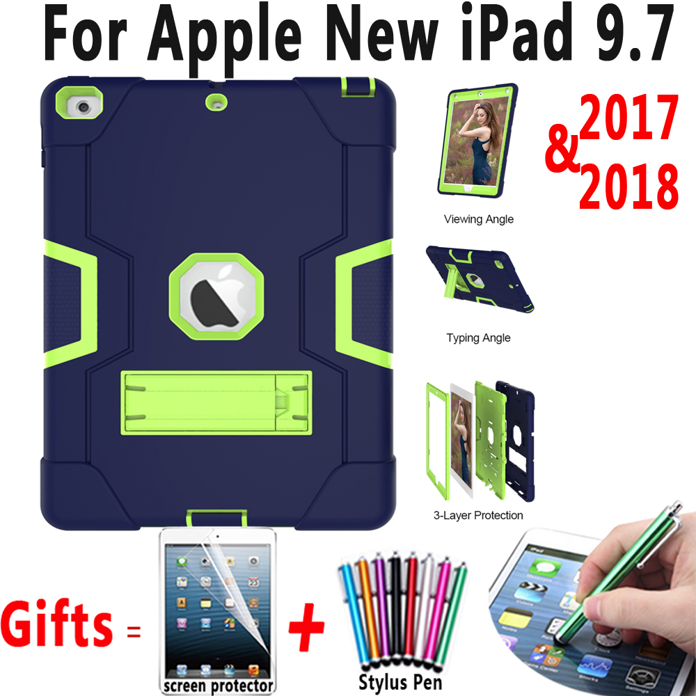 Double Color Armor Safe Tablet Heavy Duty Stand Case for Apple New iPad 9.7 2017 2018 A1822 A1823 A1893 Cover Coque Capa Funda