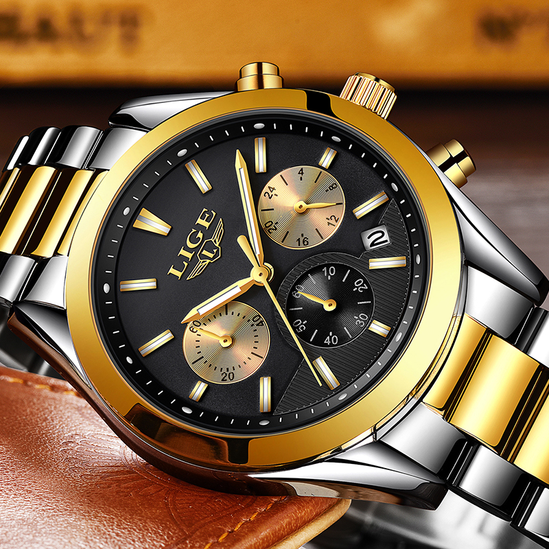 2018New LIGE Men watch Luxury Brand stainless steel Quartz watches Mens fashion Field Sport Waterproof Clock Relogio Masculino цена