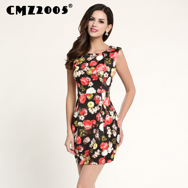 Hot Sale Nové Dámské Oblečení Kvalitní tisk Bez rukávů Kulatý výstřih Módní Krásné letní šaty Osobnostní šaty 69096