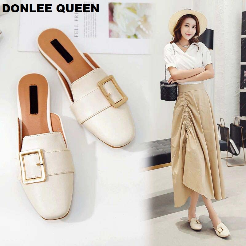 DONLEE QUEEN Women Flat Slippers Slip On Mule Women Casual Buckle British Shoes Platform Sandal Chaussure Big Size 35-42 Slipper