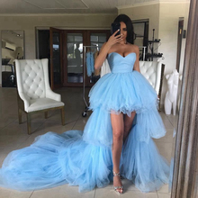 2019 Blue Prom Dresses High Low Sweetheart Party Dresses