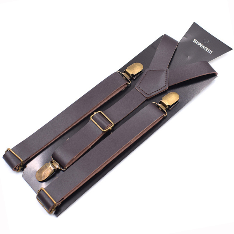 JIERKU Leather Suspenders Girl's Braces Leather Inelastic Suspenders 3 Clips Suspensorio Fashion Trousers Strap