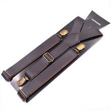 JIERKU Leather Suspenders Girl's Braces Leather Inelastic Suspenders 3 Clips Suspensorio Fashion Trousers Strap