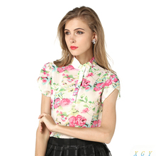 New Fashion Summer Women Blouses New Printed Flowers Chiffon Short Sleeve Shirts Size S XXL 3Colors
