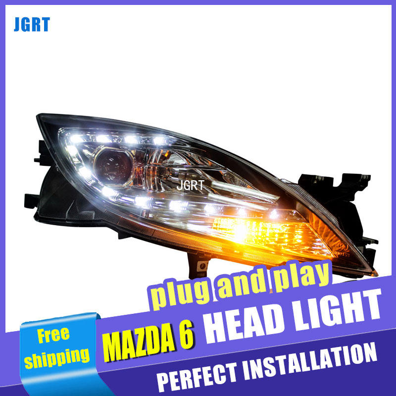 Car Styling For Mazda 6 headlight assembly 09-14 For Mazda 6 LED head lamp Angel eye led front light h7 with hid kit 2pcs. rockeybright 1set all in one n1 h7 led headlight fog head lamp kit with 2pcs h7 led adapter for the new jetta for the new bora